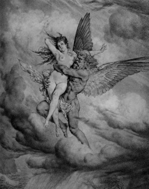 Fallen angel with Mortal Woman